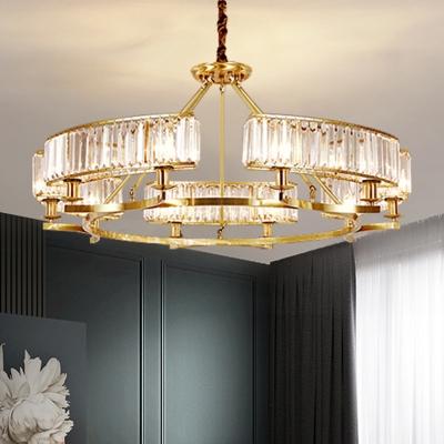 Circular Living Room Hanging Light Prismatic Crystal 6/8/10 Bulbs Postmodern Chandelier in Black/Gold