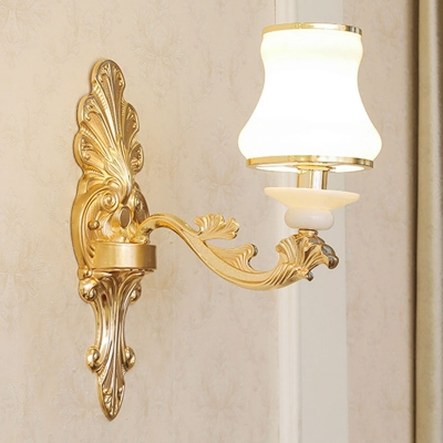 Flared White Glass Chandelier Light Traditional 1/2/3-Head Living Room Wall Mounted Lamp in Gold