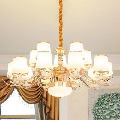 Gold Bucket Shaped Chandelier Modern Opaline Glass 8/10/15-Head Living Room Hanging Ceiling Light