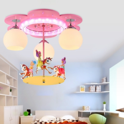 Milk Glass Dome Flush Mount Lamp Kids 3-Light Pink Close to Ceiling Light with Carousel Deco