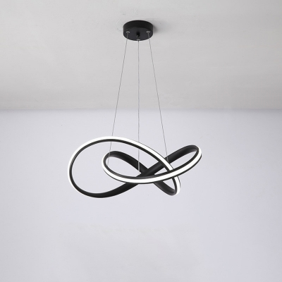 Small/Large Acrylic Twisted Chandelier Lamp Minimalist Black/White/Gold LED Hanging Light in 3 Color Light/Remote Control Stepless Dimming