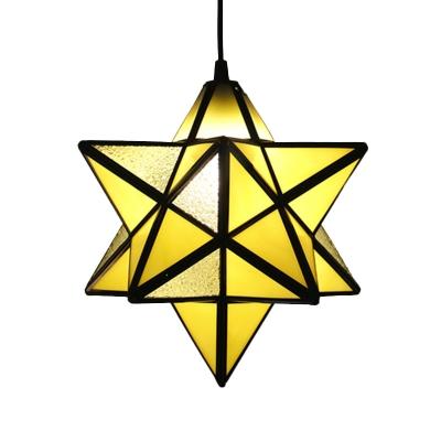 Tiffany Anise Star Pendant Lighting 1 Bulb Orange/Blue/Clear Glass Hanging Light Fixture for Bedroom