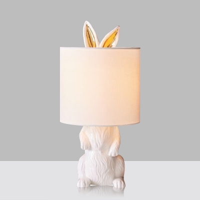 White Bunny Table Light Decorative 1-Head Resin Night Lamp with Cylinder Fabric Shade