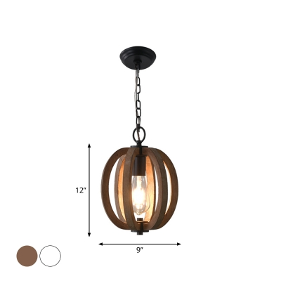 1 Bulb Ceiling Hang Light Rustic Dining Room Pendant Lamp with Pumpkin/Pear/Globe Wood Cage in White/Brown