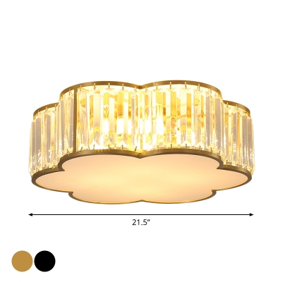 3/4/5 Bulbs Flush Mount Lamp Simple Bedroom Small/Medium/Large Ceiling Light with Floral Crystal Shade in Black/Gold