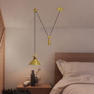 Brass Cone Shade Swag Pendant Postmodern 1 Bulb Metal Pulley Ceiling Suspension Lamp