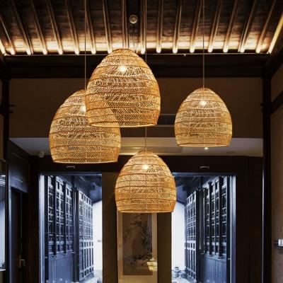 Cloche Shaped Corridor Pendulum Light Rattan 1 Bulb Asian Hanging Pendant in Black/Beige, 14