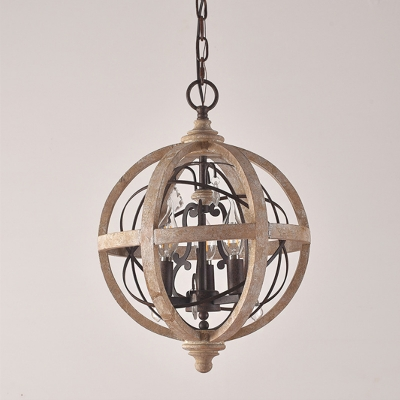 Double Sphere Wood Chandelier Pendant Rustic 5 Lights Bedroom Small/Medium/Large Hanging Light in Distressed White