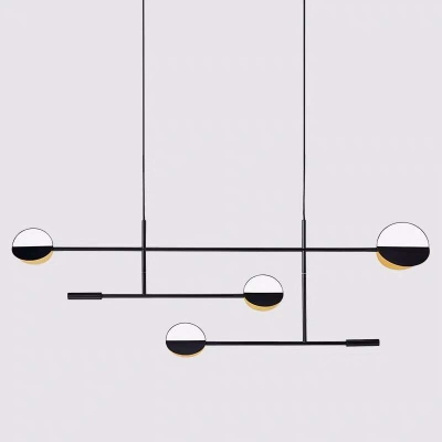 Minimalist 4-Light Island Lighting Black 3-Tier Linear Hanging Pendant with Metal Shade