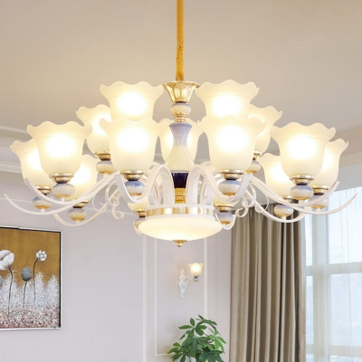 Modernist Scalloped Chandelier Opal Frosted Glass 8/10/15 Heads Living Room Wall Light Kit in White