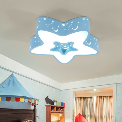 Pink/Blue Star Cutouts Ceiling Lamp Macaron Acrylic Small/Large LED Flush Mount Light for Kids Bedroom