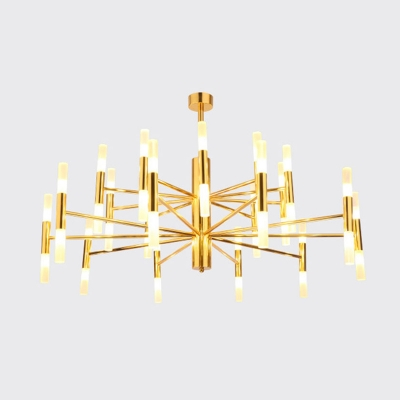 Radial Acrylic Ceiling Chandelier Contemporary 20/40 Lights Black/Gold Hanging Pendant for Living Room