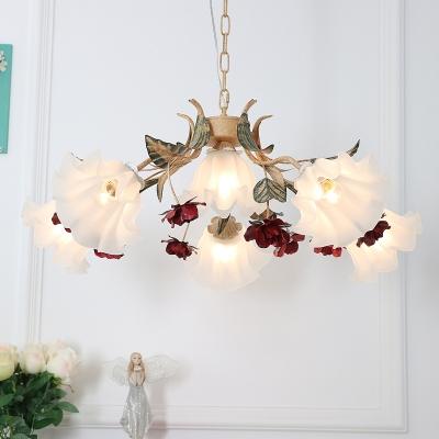 Red 4/6/9-Light Chandelier American Garden Opaline Glass Flower Hanging Ceiling Light for Living Room