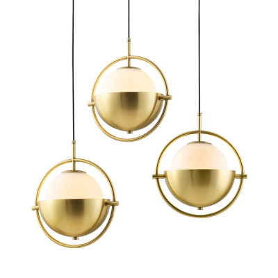 White Glass Sphere Pendant Lighting Postmodern Single Brass Hanging Lamp with Dome Shell