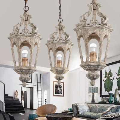 1/4-Bulb Tapered Ceiling Hanging Lantern Vintage Distressed White Wood Pendant Light Fixture over Table