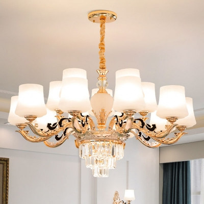 Conic White Glass Chandelier Light Fixture Modernism 6/8/15 Lights Gold Wall Lamp for Living Room