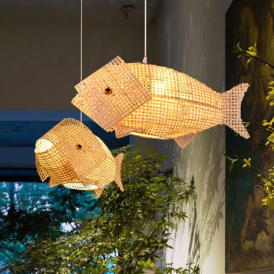 Creative Asian Fish Shaped Pendant Bamboo 1 Light Dining Room Ceiling Hang Lamp in Wood, 18