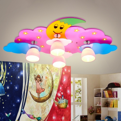 Kids Starry Moon Night Flush Mount Wood 4 Lights Child Room Ceiling Light in Pink/Blue with Bell White Glass Shade