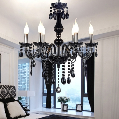 Majestic and Bold 6-Light Black Strands of Crystal Bobeche and Pendants Chandelier