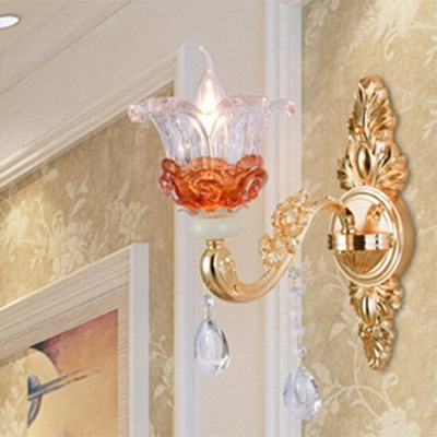 Traditional Flower Up Chandelier 1/2/18-Bulb Hand-Blown Clear and Amber Glass Wall Lamp in Gold