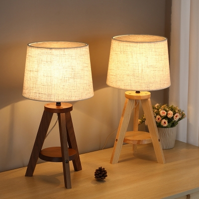 Tripod Stool Shaped Night Lamp Nordic Wood 1-Light Brown/Beige Table Light with Tapered Fabric Lampshade