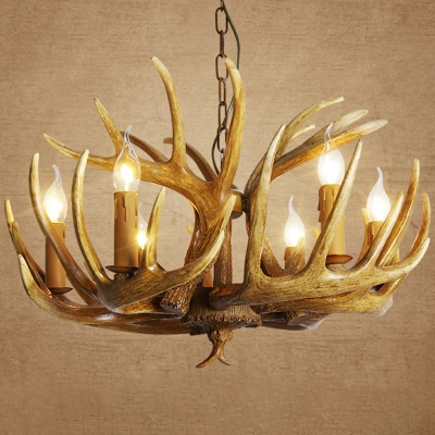 3/4/5 Heads Antler Chandelier Lodge White/Beige Resin Ceiling Suspension Lamp with/without Shade for Dining Room