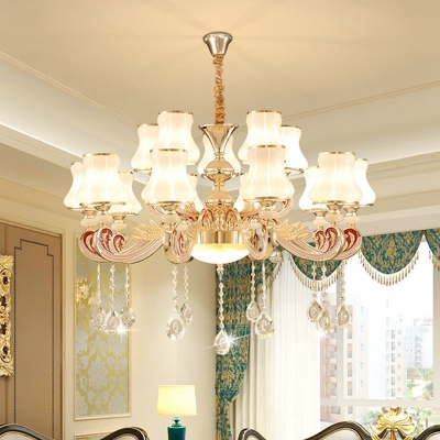 6/8/15-Bulb Milky Glass Chandelier Modern Gold 1/2-Tier Flared Living Room Ceiling Pendant Light