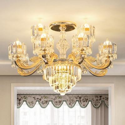 Clear Crystal Cylinder Hanging Pendant Modern 10/12/15 Lights Living Room Ceiling Chandelier