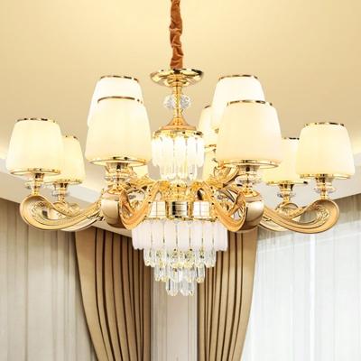 Handmade White Glass Taper Hanging Lamp Modern Style 6/8/12-Head Gold Chandelier Light Fixture