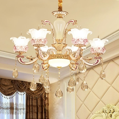 lossoming Living Room Ceiling Hang Light Modern Frost Glass 6/8/15 Lights Gold Chandelier