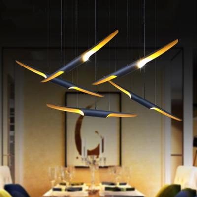 Minimalist Gull Shaped Pendant Light Metal 6/8/10-Light Restaurant Island Light Fixture in Black/White, 23.5