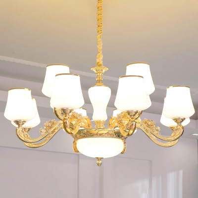 1/2/18-Bulb Chandelier Lighting Traditional Tapered White Glass Wall Lamp in Gold for Dining Room