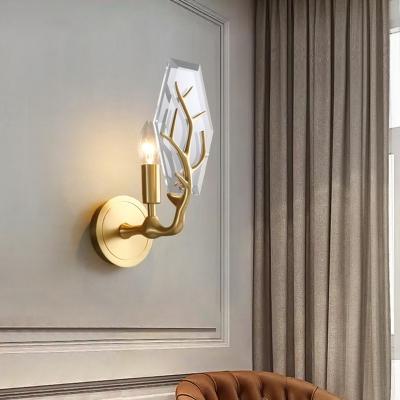 Brass Twig Sconce Light Postmodern 1 Bulb Crystal Hexagon Wall Mount Light Fixture