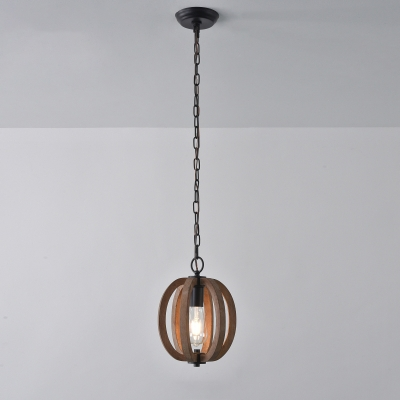 Distressed Brown 1 Head Hanging Light Kit Farmhouse Wood Pear/Melon/Sphere Ceiling Pendant for Kitchen
