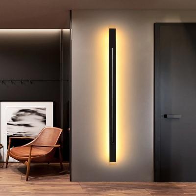 Elongated Bar Shaped Wall Light Kit Minimalistic Acrylic Black/Gold LED Sconce Lamp in White/3 Color Light, 23.5