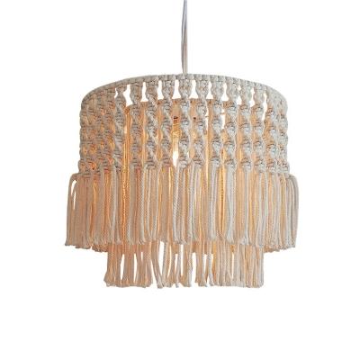Hemp Rope Beige Drop Pendant Hand-Twisted Layered Tassel Fringe 1 Bulb Rustic Hanging Light, Small/Medium/Large