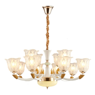 Ivory 6/8/12-Bulb Chandelier Traditional Clear Textured Glass Flower Hanging Light Fixture