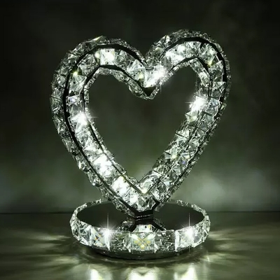 Moon/Ring/Heart Shaped LED Table Light Simplicity Clear Crystal Night Stand Lamp in Warm/White Light