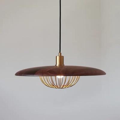 Saucer Metal Pendulum Light Designer 1-Light Grey/Light Wood/Gold Hanging Pendant with Cage Bottom