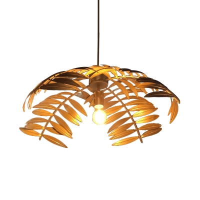 Silver/Gold Foliage Hanging Lamp Countryside Iron 1 Bulb Restaurant Ceiling Pendant Light