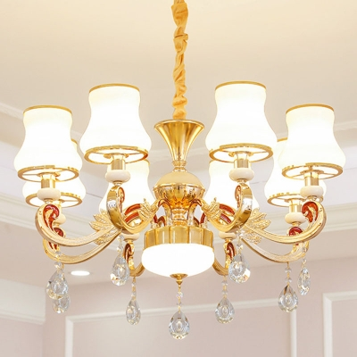 White Glass Curve Shade Suspension Lamp Traditional 6/8/18-Head Bedroom Ceiling Chandelier in Gold