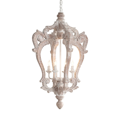 Wood Distressed White Chandelier Candle/Globe/Lantern 3/4/6-Head Rustic Hanging Pendant for Living Room