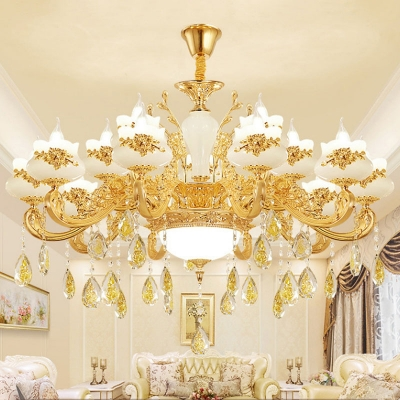 6/8/15 Heads Candelabra Chandelier Traditional Gold Faux Jade Suspension Light with Crystal Drape