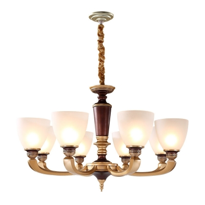 Bell Dining Room Chandelier Light Frosted White Glass 10/15/18 Heads Modern Wall Lamp in Brass