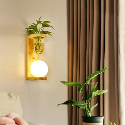 Cylinder/Ball White Glass Wall Light Lodge Single Bedside Plant Wall Lighting Ideas in Wood