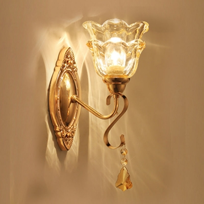 Gold 1/2-Bulb Wall Light Kit Traditional Carved/White Glass Tapered/Flower Wall Lamp Fixture with Crystal Accent