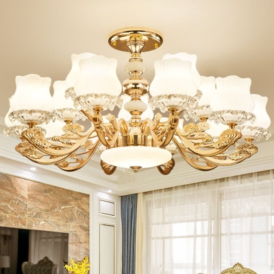 Lotus Bud Milk Glass Chandelier Traditional 10/12/15 Heads Gold Hanging Ceiling Light for Living Room