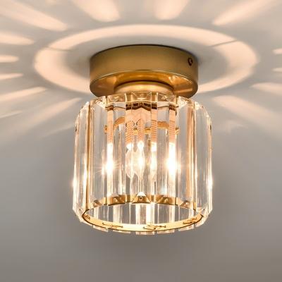 Single-Bulb Prismatic Crystal Flush Light Simple Black/Gold Rectangle/Cylinder Foyer Flush Ceiling Light