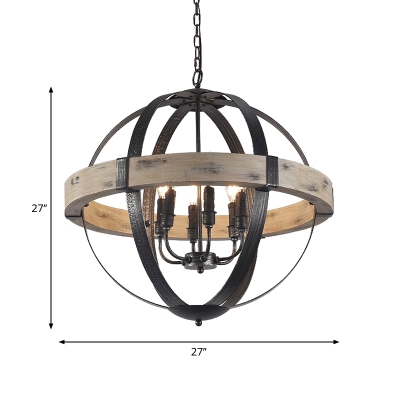 Strap Globe Dining Room Pendant Light Farmhouse Wrought Iron 4/6-Bulb Black and Wood Chandelier Lamp