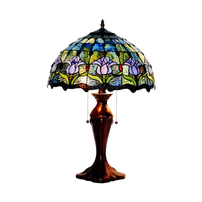 Tiffany Tulip Pull-Chain Table Lamp 2-Light Hand Rolled Art Glass Night Light in Blue